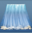 realistic waterfall with blue clean water and vector image