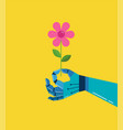 robotic hand with a flower background vector image