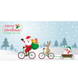 Santa Claus Reindeer Snowman Cycling Bicycles vector image