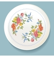 Baroque Bouquet of wildflowers on white plate vector image