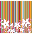 Decorative flowers striped background vector image