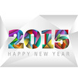 Happy New Year 2015 with colorful triangles vector image