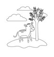 tiger cartoon in outdoor scene with trees and vector image
