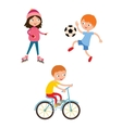 Young child boy and girl playing game vector image