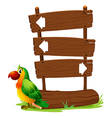 A colorful parrot beside a signboard vector image vector image