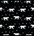 silhouette of cougar seamless black pattern vector image