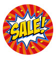 round shape sale tag red sale web sticker pop vector image vector image