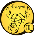 stylized zodiac signs in a yellow circle scorpio vector image vector image