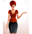 Beautiful Caucasian businesswoman full-length vector image