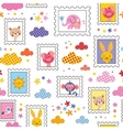 cute baby animals pattern vector image