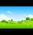 green landscape with houses vector image
