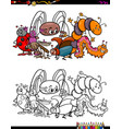 insects animal characters coloring book vector image