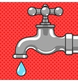 Water tap with drop comic style vector image