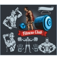 Bodybuilder with a barbell - set vector image vector image