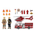 firefighters and fire fighting equipment vector image