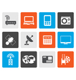 Flat Business technology communications icons vector image