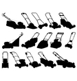 Lawn mower silhouettes vector image