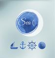 Water color sea elements of design vector image