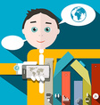 Businessman and Social Media - Infographics vector image