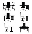 chair office with desk set vector image