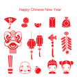 Chinese New Year Icons Set Monochrome vector image
