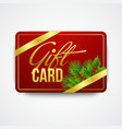 Christmas gift card with holly vector image