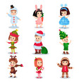 cute little kids wearing christmas costumes set vector image