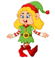 happy girl wearing elf costume vector image