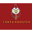 head of crazy rooster vector image