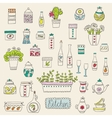 Kitchen set in Stylish design elements of vector image