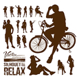 Silhouette people relax action design vector image