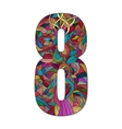 Number 8 with hand drawn abstract doodle pattern vector image