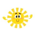 Smiling sun with big eyes isolated cartoon vector image vector image