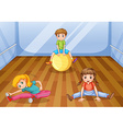 Children exercising in the room vector image vector image