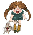 crying girl tortures a cat vector image