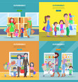 happy families have shopping in big supermarket vector image