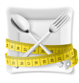 Plate with flatware and tape measure vector image