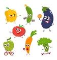 Set of funny cartoon vegetables doing sport vector image