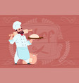 chef cook holding flour and dough smiling cartoon vector image