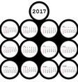 2017 black circles calendar for office vector image