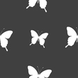butterfly icon sign Seamless pattern on a gray vector image