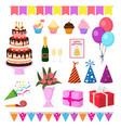 birthday party anniversary cartoon kids vector image