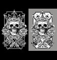 graphic skull with crossed tattoo machines set vector image