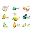 Green nature leaf concept icon set vector image