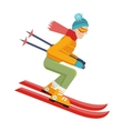 Skier Isolated on White Person Skiing vector image