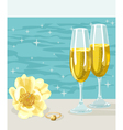 Two glasses of cold champagne flower and ring vector image