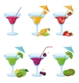 Vases and glass of juice fruits berries vector image vector image