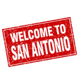San Antonio red square grunge welcome to stamp vector image
