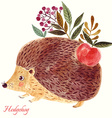 Hedgehog in watercolor technique vector image
