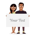 Loving young man and woman white Board Empty vector image